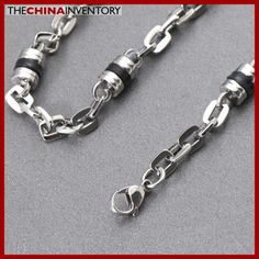 NEW 21 3/4` STAINLESS STEEL CYLINDRICAL RUBBER LINK NECKLACE N5009A Jewelry Boxes Wholesale, Buy Jewellery Online, Best Jewelry Stores, Jewelery, Fashion Jewelry, Stainless Steel, Link, Bracelets, Silver