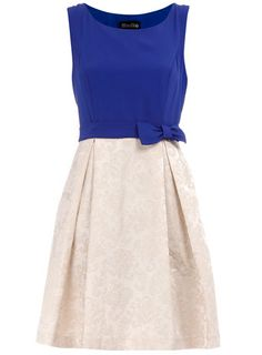 Blue and White Dress. love the pleats.