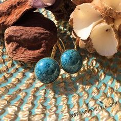 24K Gold Plated Turquoise Blue Earrings are so popular - only 1 pair left in stock! Click link in bio @bohemstylecom to take them home! #turquoisegold