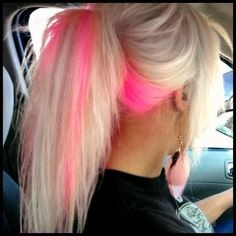 too cute i really love hair color i wish i could do this :) Pink Blonde Hair, Hot Pink Hair, Platinum Blonde, Blonde Hair Pink Highlights, Pink Peekaboo Hair, Pink Peekaboo Highlights, Blonde With Pink, Neon Hair, Best Permanent Hair Removal