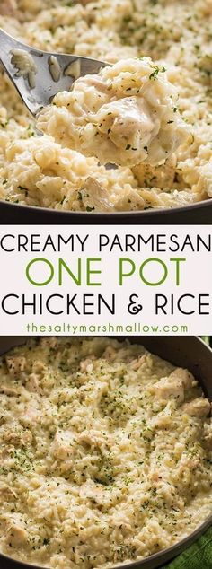 This Creamy Parmesan One Pot Chicken and Rice is the easiest chicken and rice casserole! A simple dinner recipe for chicken and rice that is cheesy, delicious, and ready in 30 minutes! Healthy Recipes Creamy Parmesan One Pot Chicken and Rice Food Dishes, Main Dishes, Crock Pot Recipes, Pork Recipes, Veggetti Recipes, Tilapia Recipes, Mexican Recipes, Parmesan Recipes, Hamburger Recipes