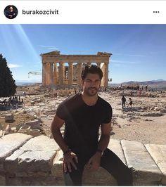 Burak in athens Turkish Men, Turkish Actors, Tv Series 2013, Burak Ozcivit, Beautiful Wife, Beautiful Places, Cute Guys, Actors & Actresses, Sexy Men