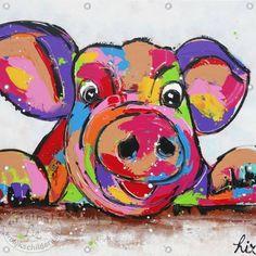 tuinposter, vrolijk schilderij, varken