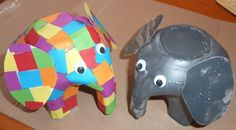 Milk bottle Elmer the Elephant tutorial. you could actually make these real classy looking with silver, brass, or gold paint and doing glue design underneath. really cool idea.