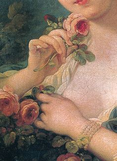 François Boucher, Young Woman with a Bouquet of Roses  Oil on canvas / 22.01 x 18.50 inches