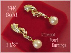 "14K Gold  ~ Diamond & Pearl Spiral Swirl 1 1/8"" Earrings - Gift Boxed - New Age  @@ FREE SHIPPING @@"