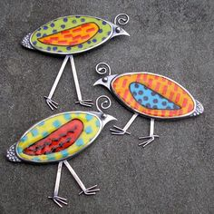 Quail Brooches - hand fabricated by artist Sue Szabo using Enamel and sterling silver... see more of her great work... http://www.lsueszabo.com