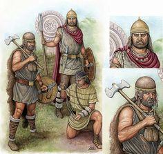 Guerriers ibères.  Illustration d'Angel García Pinto.