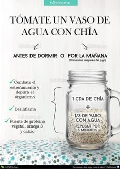 12 tips para comer sanamente. 12 tips to eat health… Water iconography with chia. 12 tips to eat healthy. 12 tips to eat healthily. Healthy food Delicious food Diet Food without calories Healthy Juices, Healthy Habits, Healthy Drinks, Healthy Tips, Healthy Eating, Healthy Recipes, Detox Recipes, Healthy Food, Nutrition Drinks
