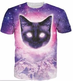 T-Shirt Space Cat Riding Panda with Ice Cream Galaxy 3D Print Short Sleeve Top Tees for Boys Girls Funny Novelty