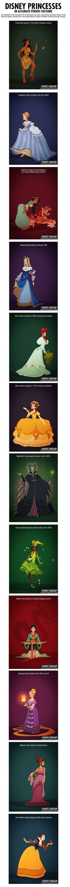 Disney Princesses in accurate costume!