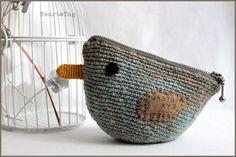 Crocheted bird pouch