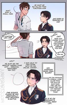 Credit to Juniperarts on tumblr Attack On Titan Crossover, Attack On Titan Comic, Fandom Crossover, Anime Crossover, My Hero Academia Shouto, Hero Academia Characters, Fiction, Titans Anime, Levi X Eren