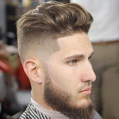 Brushed Up Medium-Length Hair with Beard