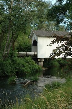 This covered bridge crosses over Mary's Creek in Benton County, Oregon.