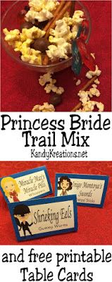 Enjoy watching the Princess Bride movie with this yummy trail mix. You'll find all kinds of sweet treats like Shrieking Eels, Inigo's swords...