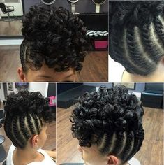braided updo with a curly top for black hair