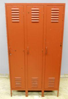 Double-sided Steel Locker unit in burnt orange paint. $375.00, via Etsy.
