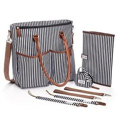 Unisex Baby Diaper Bag Purse for Girls and Boys Washable Stylish Black and White Striped Design w/ Fourteen Pockets Baby Changing Pad/Pacifier Clips/ Pacifier Case/Stroller Straps Diaper Bag Purse, Baby Diaper Bags, Baby Bags, Baby Changing Pad, Unisex Baby, Stripes Design, Baby Accessories, Baby Love, Pacifier Clips