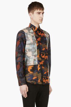 GIVENCHY Navy & Orange Camo Button Down Shirt