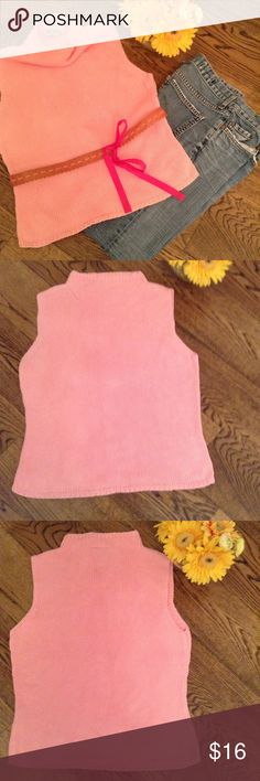 Lilly Pulitzer pink sleeveless sweater Sleeveless funnel neck pink lightweight sweater by Lilly Pulitzer.  This well loved piece has more life!  Belt it as shown or wear under a denim jacket. Lilly Pulitzer Tops