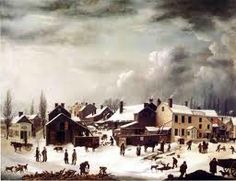 Early American Winter Colonial scene painted by Francis Guy.