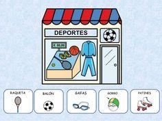 Las TIENDAS Complete Sentences, Teaching Spanish, Bingo, Homeschool, Learning, Activities, Shopping, Learn Spanish, Autism