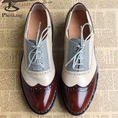 2016 Del Cuero Genuino de Gran Tamaño de La Mujer 11 Del Diseñador de La Vendimia Plana zapatos de Punta Redonda Hecha A Mano Blanco Creepers Zapatos Oxford Para Las Mujeres de piel