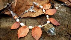 Collana foglie pasta polimerica fimo perle di fiume ghianda fatto a mano, by Evangela Fairy Jewelry, 18,00 € su misshobby.com