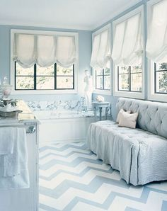 A classic geometric pattern - Blue and white zigzags #Painted #flooring