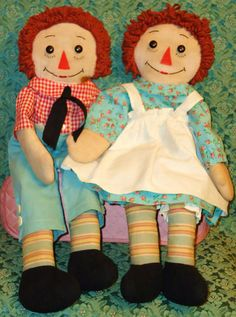 1940's 19inch Raggedy Ann and Andy, Hand Made