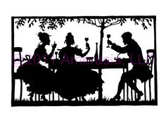 "Handmade Silhouette Papercut Scherenschnitte Black White Contemparary Modern Home Decoration_ Cheers _ 5""(H) x 8.125""(W) _M166"