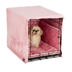 Make your dog's crate safe and comfortable with cratewear dog crate covers by Pet Dreams. Each cratewear three piece safety and comfort set consists of decorati Pink Dog Crate, Dog Crate Pads, Dog Crate Cover, Crate Bed, Dog Cages, Thing 1, Puppy Care, Pet Care, Pet Beds