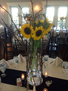 Sunflowers for a country Fall themed wedding