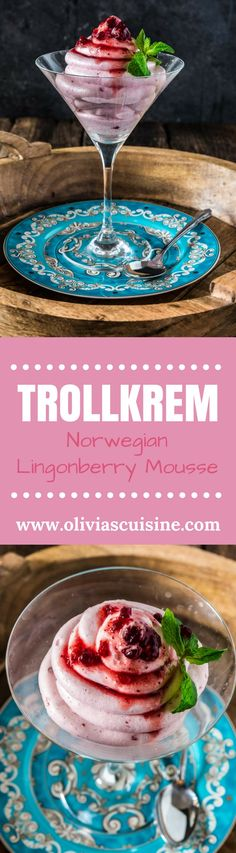 Trollkrem (Norwegian Lingonberry Mousse) | www.oliviascuisine.com | This Norwegian Trollkrem, aka the easiest dessert in the world, is a great dairy free recipe to have up your sleeve for when you have unexpected guests! Sweet, tart and oh so creamy! (Recipe by @oliviascuisine.) AD #MomBlogTourFF