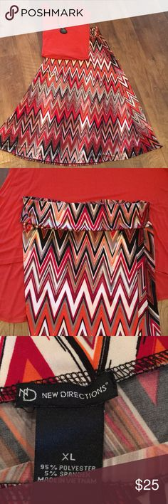 "Chevron Maxi Skirt Vibrant colors of red, orange and black chevron! This skirt is amazing with a pair of black boots!! Bought to wear with tunic shown (sold on different listing-skirt is XL and top is L)  Length from top of waistband (rolled down) is 41"". new directions Skirts Maxi"