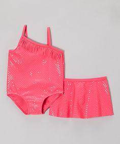 Look at this #zulilyfind! Pink Sequin One-Piece & Swim Skirt - Infant, Toddler & Girls #zulilyfinds