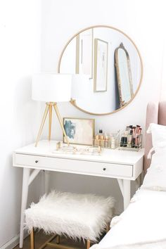 Bedroom Makeover Reveal Money Can Buy Lipstick - # Can . - Bedroom Makeover Reveal Money Can Buy Lipstick - Bedroom Apartment, Home Bedroom, Girls Bedroom, Trendy Bedroom, Mirror Bedroom, Bedroom Furniture, Bedroom Decor For Small Rooms, Bedroom Table, Budget Bedroom