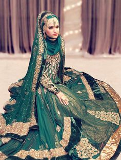 Beautiful Brides in hijab Dark green dress, Asian bridal couture, Muslim fashion Muslim Wedding Dresses, Muslim Brides, Wedding Hijab, Bridal Dresses, Bridal Gown, Beauty And Fashion, Covet Fashion, Muslim Fashion, Hijab Fashion