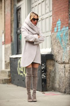 Stuart Weitzman Suede Tan Boots + Cardigan {Cool Weather Favorites} Brooklyn Blonde http://FashionCognoscente.blogspot.com