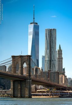 Brooklyn Bridge and Lower Manhattan Skyscrapers by Photographer Andrew Prokos