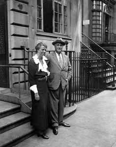 Eleanor and Franklin Roosevelt outside their New York home on E. 65th St.,1933.