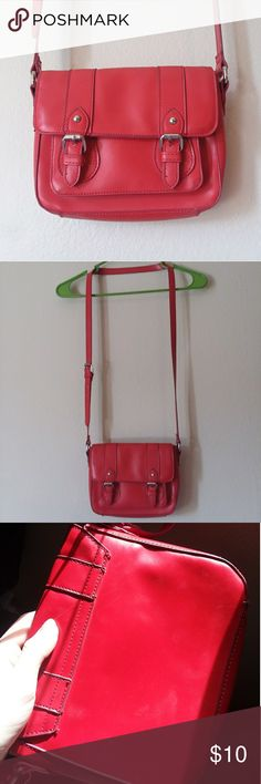 Red Orange Faux Leather Purse Small pocket in front under flap. Some scuff marks that my camera wouldnt pick up. Not too noticable since theyre on the back. Kind of a coral orange color. Bags Crossbody Bags