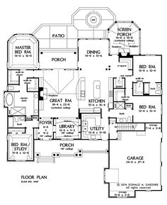 i WANT THIS ONE!!!!! LOTS OF SPACE - HUGE UTILITY - E SPACE IN OPEN AREA!!!! LOVE THIS!!!! NOW AVAILABLE: Family-Friendly Craftsman Design 1409! Unique, open library with built-in bookshelves. Oversized utility room with a view and outdoor access. Completely open kitchen with center island. See it on our #House #Plans #Blog http://houseplansblog.dongardner.com/now-available-family-friendly-craftsman-design-1409/