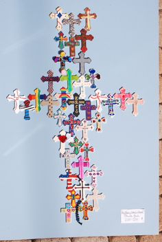 """Together as One"" - individually decorated crosses mounted into one large cross"