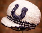 Indianapolis Colts Inspired Crocheted Baseball Cap (Newborn - Children Size) (Made to Order)