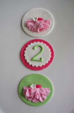 Ballerina TuTu and Age Toppers for Cupcakes, Cookies or Mini-Cakes for Birthday Parties. $20.00, via Etsy.