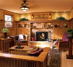 Arts and crafts living room, love the mission style furniture!