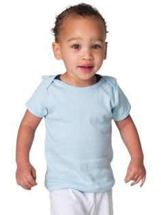 American Apparel Infant Baby Rib Short Sleeve Lap T Light Blue