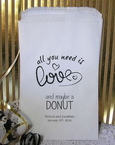 Personalized Donut Bags (24 BAGS) - Wedding Doughnut Bags - Wedding Donut Bar - Wedding Reception Supplies - Need is Love.